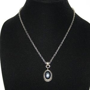 Vintage silver and onyx necklace 30""